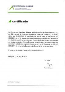 Certificado de Técnico de Grupo B (Regulamento CE nº 1005/2009): Renovação