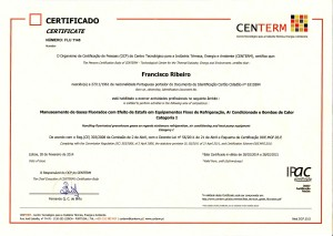 Certificado de Habilitação para Manuseamento de Gases Fluorados com Efeito Estufa